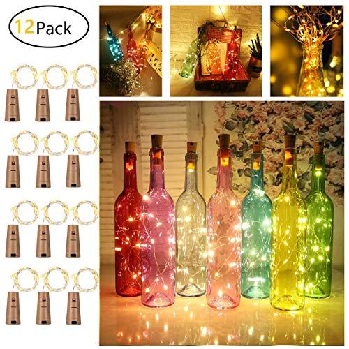 12 Stück LED Flaschenlicht, Sanniu 20 LEDs 2M Lichterkette Kupferdraht batteriebetriebene Weinflasche Lichter mit Kork Schnurlicht für DIY Deko Weihnachten Party Urlaub Stimmungslichter (Warmweiß)