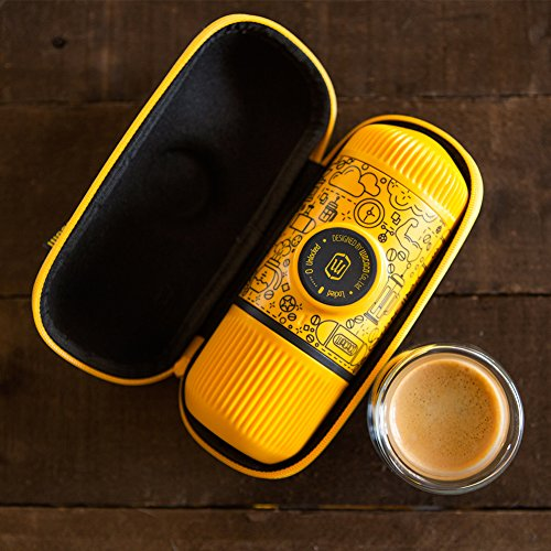 Wacaco Nanopresso Portable Espresso Maker bundled with Protective Case, Yellow Tattoo Patrol Edition, 18 Bar Pressure, Extra Small Travel Coffee Maker, Manually Operated Perfect for Kitchen and Office