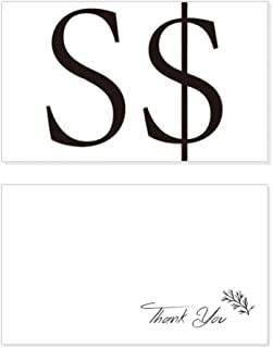 Currency Symbol Singapore Dollar Thank You Card Birthday Wedding Business Message Set