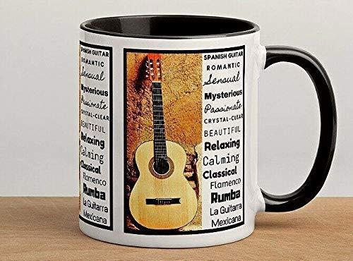 N\A Taza de té de Bebida de café con Guitarra Flamenca española Taza de Regalo Divertida de cerámica Taza de Oficina-Taza de 11 oz