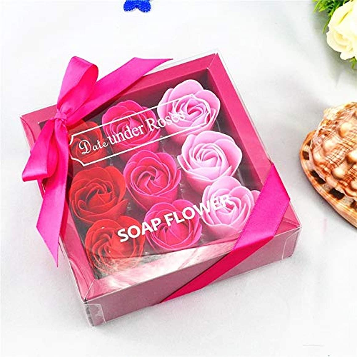 Dongtu 9Pcs/Set Rose Flower Soap Bath Body Birthday Creative Wedding Valentine Gift Box Petals Decor (Gradient Red)