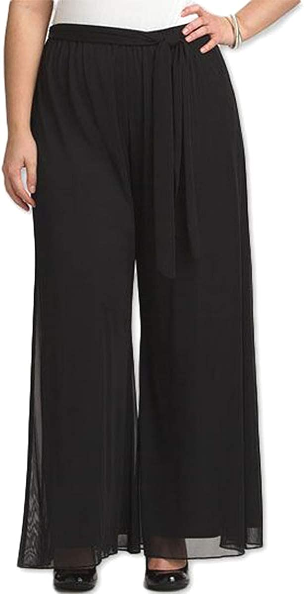 RED DOT BOUTIQUE 906 - Long Plus Size Elastic Waistband Wide Legged Palazzo Pocketed Pants