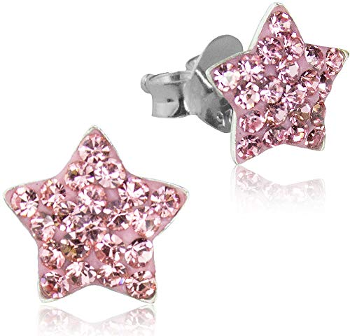 LUISIA® Pendientes de estrella con cristales de Swarovski® – plata de ley 925 – Selección de colores Rosa. Talla única