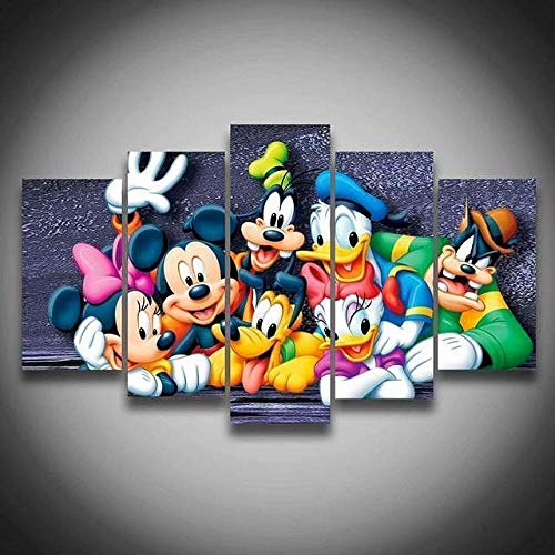 45Tdfc 200×100cmLienzo de Pintura 5 Piezas Mick Mouse Duck Plu Cartoon Lienzo Pintura Pared Arte Imagen para Sala Moderna impresión Dormitorio