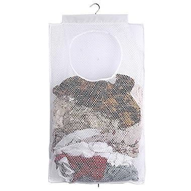 ALYER Mesh Laundry Hamper,Foldable Hanging Storage Basket,Portable Space Saving Storage Bag (White)