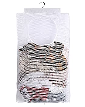 ALYER Mesh Laundry Hamper,Foldable Hanging Storage Basket,Portable Space Saving Storage Bag  White