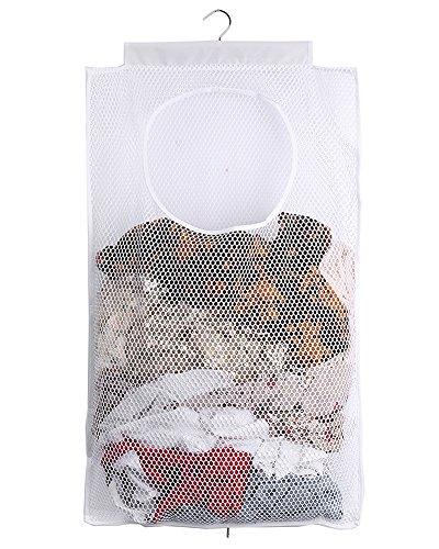 ALYER Mesh Laundry HamperFoldable Hanging Storage BasketPortable Space Saving Storage Bag White