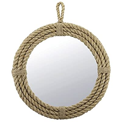 Stonebriar SB-5389A Small Round Wrapped Rope Mirror with Hanging Loop, Vintage Nautical Design, Brown