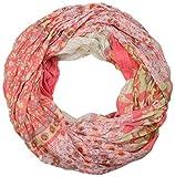 styleBREAKER fular de tubo con motivo mixto de flores, tela crash y arrugada, cachemira, puntos, flores, rosas 01014008, color:Coral