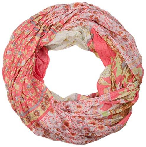 styleBREAKER écharpe tube en boucle avec motif floral allover mélange, crash et froissé, paisley, points, fleurs, roses 01014008, couleur:Corail