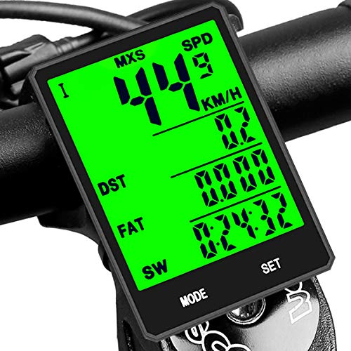 DINOKA Bike Computer Wireless, Large LCD Bike Odometer And Speedometer Wireless with Touch Button, Waterproof Bicycle Speedometer Wireless, Bicycle Mileage Tracker Support 20 Functions