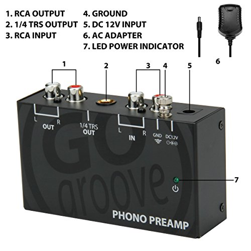 GOgroove Mini Phono Turntable Preamp Preamplifier with 12 Volt AC Adapter, RCA Input for Vinyl Record Player - Compatible with Audio Technica, Crosley, Jensen, Pioneer, 1byone and More Turntables