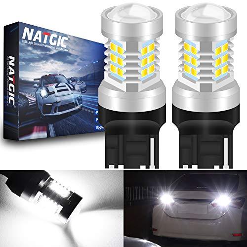 NATGIC 7440 7440NA 7441 992 T20 Ampoules à LED Blanc xénon 21 - chipsets EX 2835 SMD avec lentille de Projection pour Feux de recul de Queue de Frein, 10-16V 10,5W (Pack de 2)