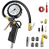 Anykuu Manómetro de neumáticos PSI Manometro Presion Neumaticos Acoplador para Motocicleta, Bcicleta y Coche