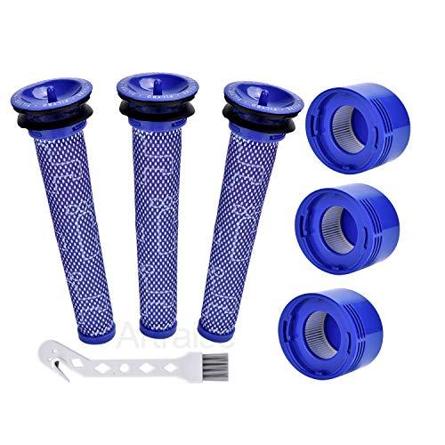 Artraise V8 Filter für Dyson 3 HEPA-Nachmotorfilter-Kit & 3 Vorfilter V8 V7 Ersatzfilter für Dyson V8 V7 Animal und Absolute Cordless Staubsauger # DY-96566101, DY-96747801