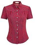 Blusas Rojo Blusa Mujer Elegante Blusa Oficina Mujer Manga Corta BP0870-3 S