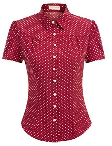 50er Jahre Tops Vintage Retro T-Shirt Polka dots Kurzarm Oberteil weinrot Bluse XL BP870-3