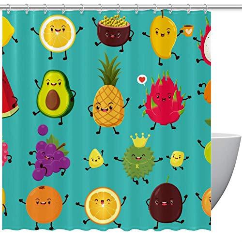 HEOEH Duschvorhang mit süßem Obst, Avocado, Mango, Ananas-Muster, wasserdichter Duschvorhang aus Polyester für Badewannen-Duschen, 167,6 x 182,9 cm