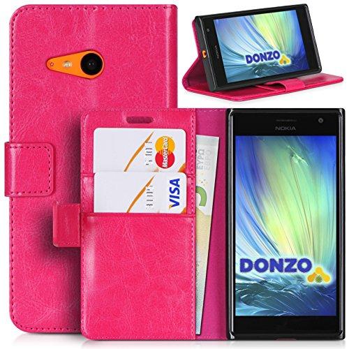 DONZO Tasche Handyhülle Cover Hülle für das Nokia Lumia 730 in Pink Wallet Washed als Etui seitlich aufklappbar im Book-Style mit Kartenfach nutzbar als Geldbörse