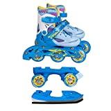 Inline Skates Kinder   NILS  Inliner 3in1   Verstellbare Schlittschuhe Rollschuhe Größenverstellbar   Pink- Blau –Gelb   Größen 27-38 (Blau, 35-38)