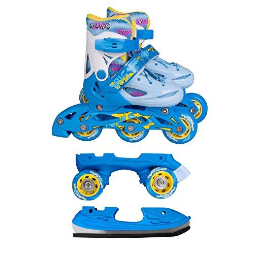 Inline Skates Kinder | NILS| Inliner 3in1 | Verstellbare Schlittschuhe Rollschuhe Größenverstellbar | Pink- Blau –Gelb | Größen 27-38 (Blau, 35-38)