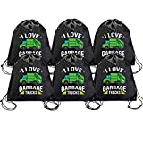 Snogisa 6 Pieces Kids Party Favor Bags ,i love trash garbage Drawstring Bags Favor Bags for Birthday Party Gift Package,Gift Candy Drawstring Bags Pouch with Cartoon trash garbage Designed to Boys and Girls Party Supplies