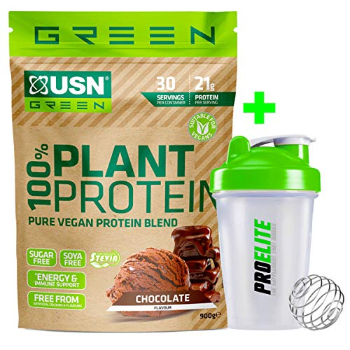 USN Green 100% Plant Protein 900g Pure Vegan Protein Blend (Pea + Brown Rice + Hemp Protein) Sugar & SOYA Free + Shaker