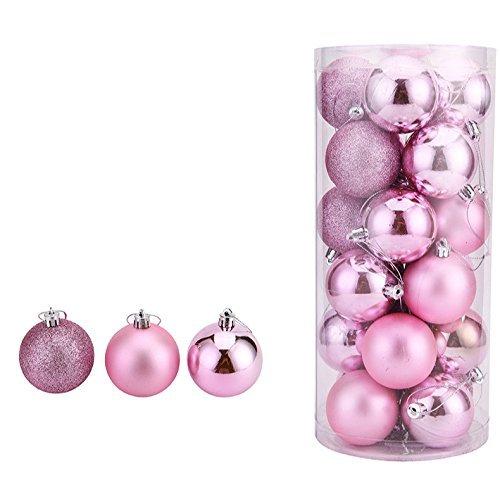 OAMORE 24 Stück Weihnachtskugeln Christbaumschmuck Bruchsichere Christbaumkugeln für Glänzend Glitzernd Weihnachten Deko Anhänger (Rosa, 4cm/1.57inch)
