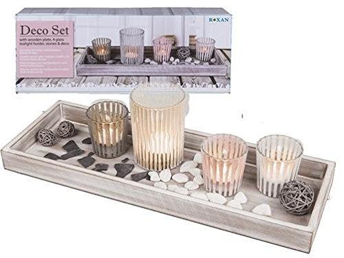 Unbekannt Holzteller, ca. 40 x 14 cm mit 4 Glas-Teelichthalter Steine & Deko in Geschenkbox