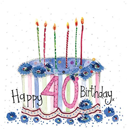 Happy 40th Birthday Cake Card by Alex Clark