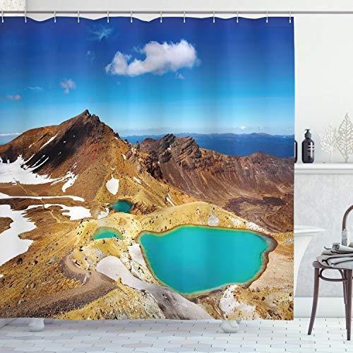 ABAKUHAUS Nieuw-Zeeland Douchegordijn, Emerald Lakes Foto, stoffen badkamerdecoratieset met haakjes, 175 x 180 cm, Veelkleurig