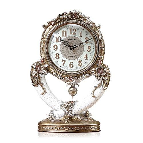 JCOCO Horloge européenne résine silencieux non-ticking créatif rétro horloge luxe grand salon chambre bureau décoration ornements