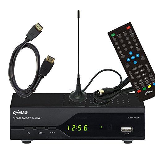 Comag SL30T2 H.265 HEVC DVB-T2 Receiver (PVR Ready, USB) + Goobay Mini-Stabantenne + HDMI-Kabel 1,5m