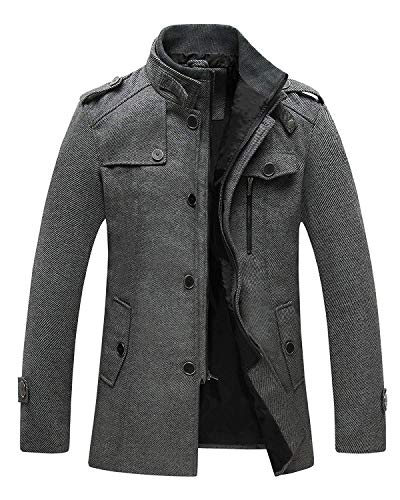 Wantdo Men's Slim Fit Pea Coat Warm Winter Windproof Wool Jacket Grey 2XL