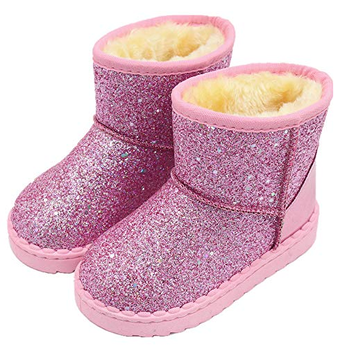 Tounsol Girl's Warm Winter Sequin Waterpoof Outdoor Snow Boots pink11 Little Kid