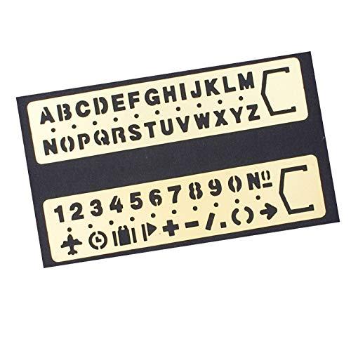 Amupper Buchstabenschablonen aus Messing - Metallschablonen mit vielen Symbolen - 2er Set bronze