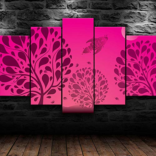 45Tdfc 5 StüCk Kunst Poster Abstrakter roter Raumbaum Modern Wand Wohnzimmer Dekoration Geschenk HD Panel für Zuhause Büro Kunstdruck