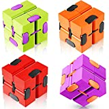 4 Pieces Infinity Cube, Sensory Infinity Cube Autism Relief, Mini ABS Infinity Cube Puzzle Accessories for Adults Hand Cube Relieve Stress and Anxiety Relief and Kill Time (Cute Style)