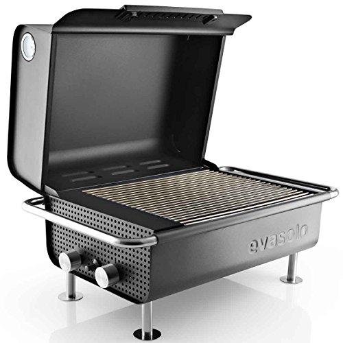 EVA SOLO Box Gasgrill571503, schwarz Edelstahl 50mbar Grillplatte 31x37cm LxBxH 60x40x34cm für Deutschland und Österreich