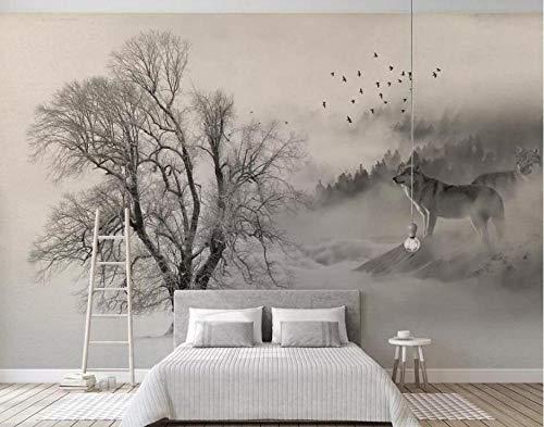 Fototapete 3D Effekt Tapeten Nordic Minimalistisch Schwarz Und Weiß Schnee Bäume Vögel Wölfe Vliestapete 3D Tapete Moderne Wandbilder Wanddeko