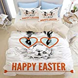 HUAYEXI Bedding Juego de Funda de Edredón,Conejo de Pascua con Gafas Imprimir,Microfibra Funda de Nórdico y Fundas de Almohada (Cama 220x240cm)