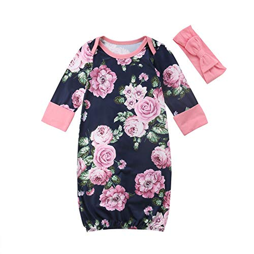Douleway Neugeborenes Baby Mädchen Blumendruck Langarm Kleid Sleeper Gown + Bowknot Stirnband Baby Shower Body Nachthemden Kleidung Outfits (70/0-3 Monate)