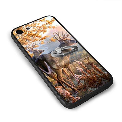 N/A Whitetail herten schilderijen 4.7 Inch iPhone 7 Case, iPhone 8 Case TPU glas telefoonhoesje met vierkante mobiele telefoon standaard