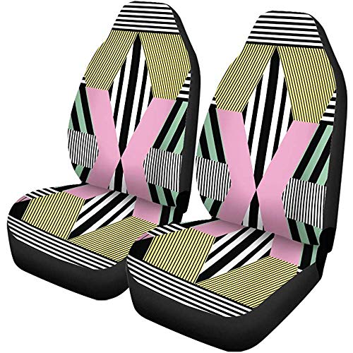 XZfly Autositzbezüge Bunte geometrische im Retro-Bauhaus-Muster Memphis Bright Cool Set von 2 Auto-Protektoren Auto für Auto-LKW-SUV