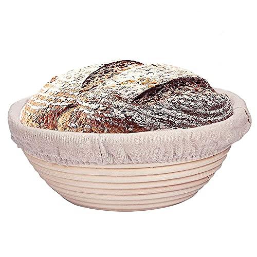 Cestino da lievitazione, 22 x 8,5 cm, contiene 500 g di impasto, stile Banneton, in rattan, per pane artigianale