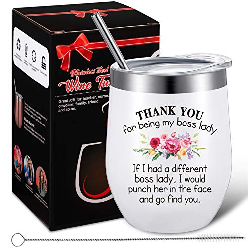Boss Gifts Thank You for Being My Boss Tumbler, Novelty Birthday Christmas Coffee Mug Gifts for Lady Women Bosses Female, 12 oz Insulated Vacuum Wine Tumbler with Straw Lid and Brush