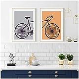 Cuadros Decoracion Salon Modernos 30x40cm x2 Piezas SIN MarcoPóster Amante de la Bicicleta de la Pintura de la Lona del Arte del díptico de la BicicletaCuadros Decoraciones Paredes Modernos