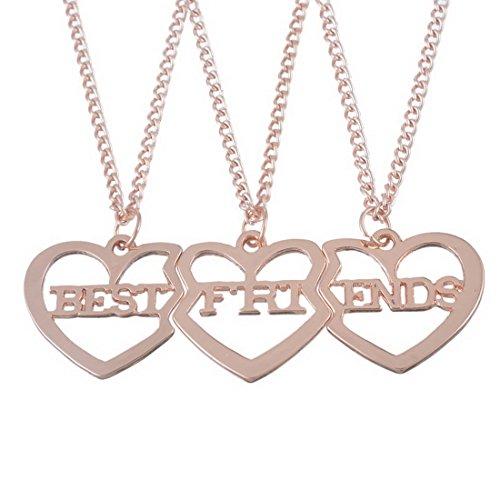MJARTORIA Damen Kette Gold Silber oder Rosegold Farbe Herz Anhänger Freundschaftsketten mit Gravur Best Friends Forever BFF Halskette 3 Stück (Rosegold)