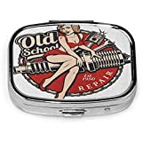 Square Pill Case With 2 Compartment Portable Tattoo Spark Plug Pin Up Girl Piston Wrench Vintage Col...