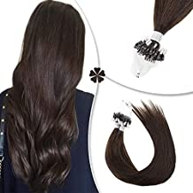 [Big Promotion]Hetto Micro Ring Extensions 100 Human Remy Hair 40Gram 0.8G/Strand #2 Darkest Brown Micro Link Loop Extensions Real Natural Hair 12Inch